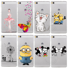 Super Cute Minions Cat Mickey & Minnie Kiss Hard Plastic Case Cover For Huawei Ascend P6 P7 P8 P8 Lite Mini P9 P9 Lite(China (Mainland))