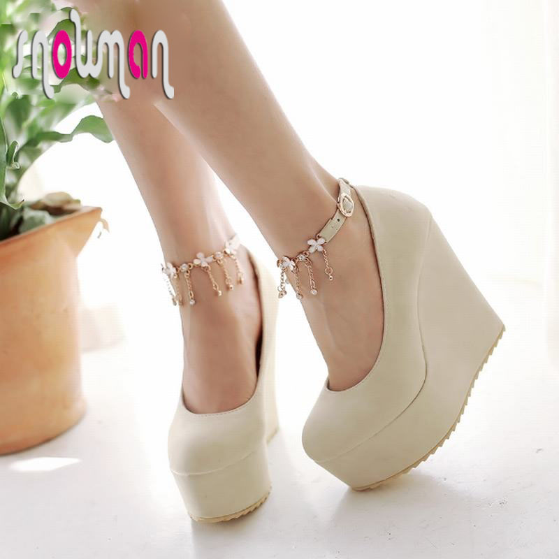 2016 Sexy Chains Ankle Strap Women Pumps High Wedges High Heels Summer Pumps Thick Platform Shoes Woman Women Shoes