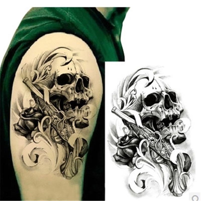 1Pcs Temporary Waterproof Tattoos Male Gun Sexy Dangerous Skull Body Art Fake Tattoo Sticker For Sleeve Arm Tattoos For Men Hot(China (Mainland))