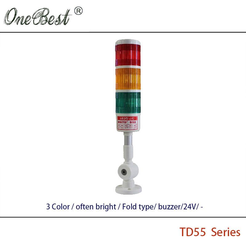 Free Shipping HNTD Pilot Light 24V LED Signal Light 3 Color Fold Type Often Bright Buzzer TD55 12V Warning Led Light Flashing(China (Mainland))