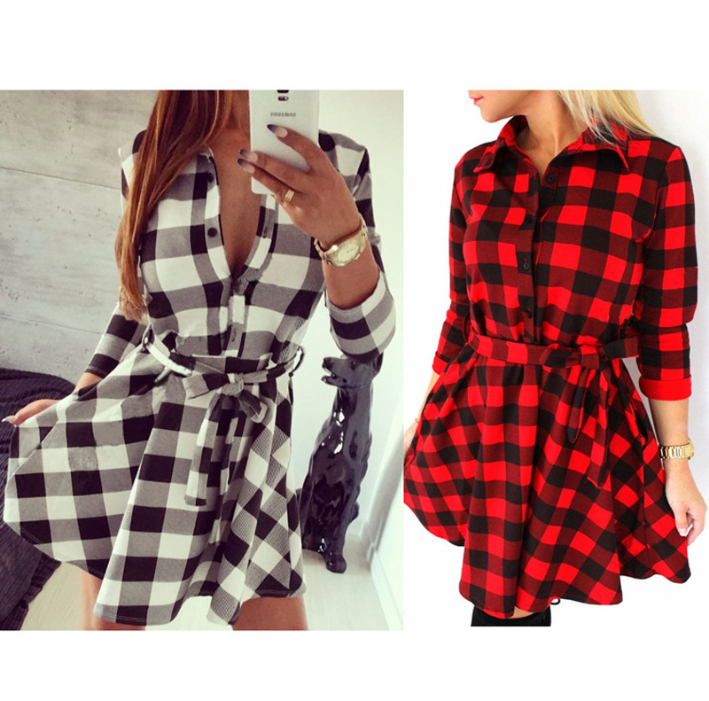 Women Long Sleeve Shift Dress font b Kilt b font Tartan Check Plaid Tunic Dresses 2016