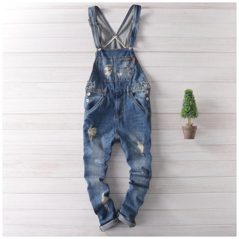 Adult Mens solid blue ripped Overalls Denim Suspender Pants Men Salopette Jeans New Arrival Slim Straight Jumpsuit Cowboy bib(China (Mainland))