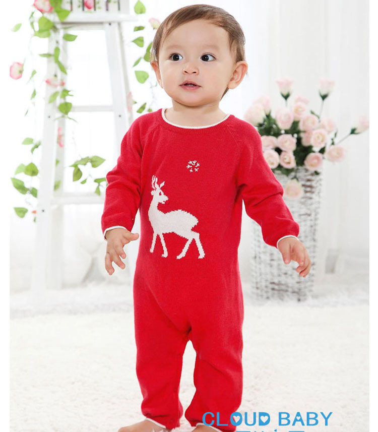 2014New Arrive! Baby Boy/Girl Long sleeve Spring/Autumn Romper,Christmas Deer Red Wool Knitted Toddler Outwears clothings Retail(China (Mainland))