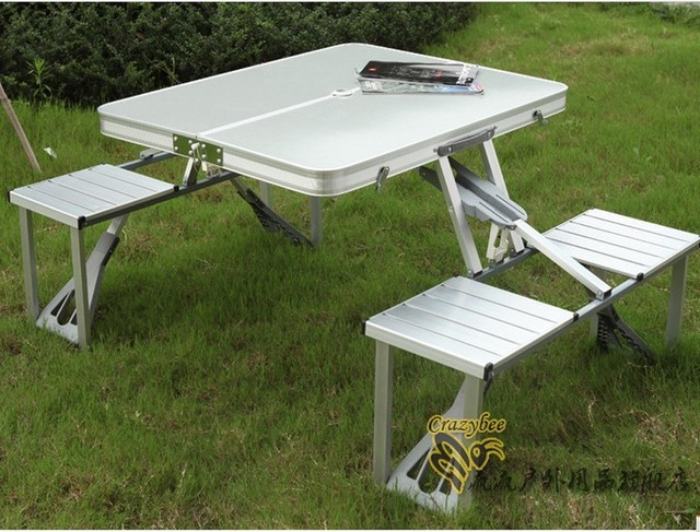 Outdoor 1 Folding Tables And 4 Chairs Set Aluminum Alloy