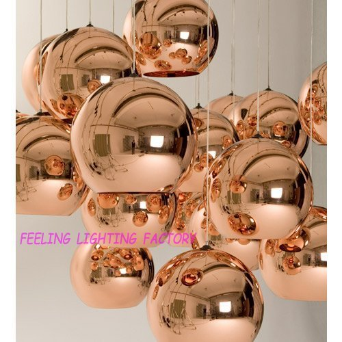 Holiday sale Wholesale Free Shipping Single 30CM COPPER SHADE Lamp Modern Mirror Ball Pendant Light ALSO HAS 25CM,20CM