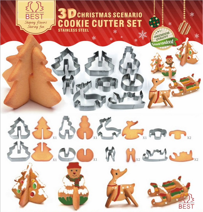 Stainless steel 3D Christmas scenario cookie Cutter set metal snowman tree deer car mold Child's love tool Free shipping #CT546(China (Mainland))