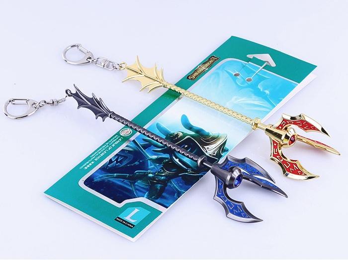 Hot Sale Game LOL Key Chain Fizz Tidal Sea Spirit Weapon Metal Pendant Keychain Golden Key Ring medium size 16.5cm(China (Mainland))
