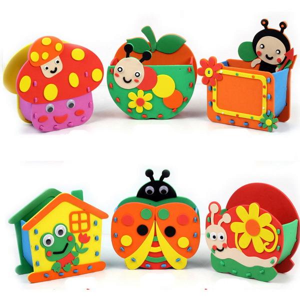 5pcs 3D EVA Foam Puzzle Stickers Cartoon EVA Pen Holder Handmade Games Early Educational DIY Kids Toys Gift for Children(China (Mainland))
