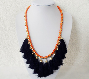 2013 Hot sale Fashion gold tone box chain neon orange rope wrapped black tassel fake collar necklaces dropship