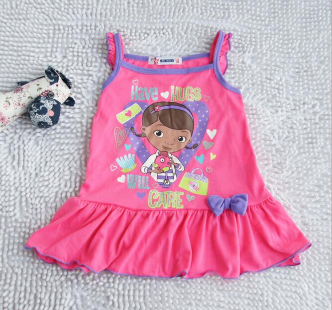 Retail 1 pcs Free shipping kids girl's clothing Doc McStuffins sleeping dress short sleeves pajamas nightgowns dress wear(China (Mainland))