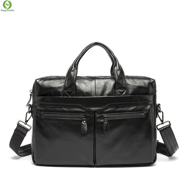 100% натуральная кожа сумки старинный кожаный мужская черный портфель ноутбук сумка ...