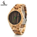 BOBO BIRD K23 Fashion Zebre Wooden Watch Stripes Dial Face Full Wooden Clocks Quartz Watches for