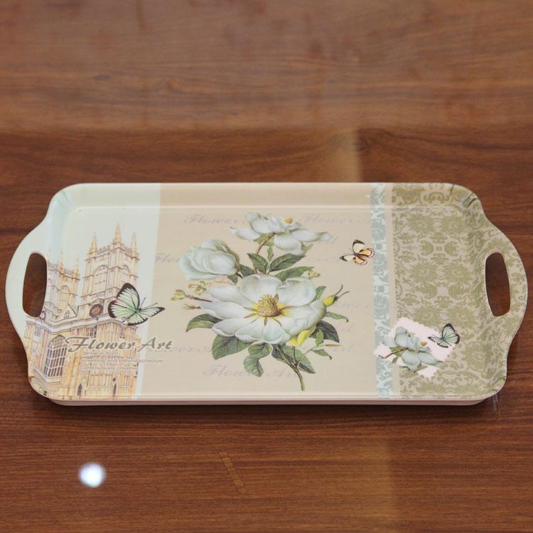 European plastic tray melamine fruit plate decoration rectangular cup American Pastoral snacks disc storage disc(China (Mainland))