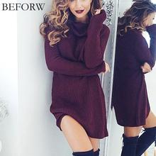 BEFORW Woolen Dress Fashion Autumn And Winter Dresses Sexy High Necked Long Sleeve Dress Women Knitting Casual Sexy Mini Dress(China (Mainland))