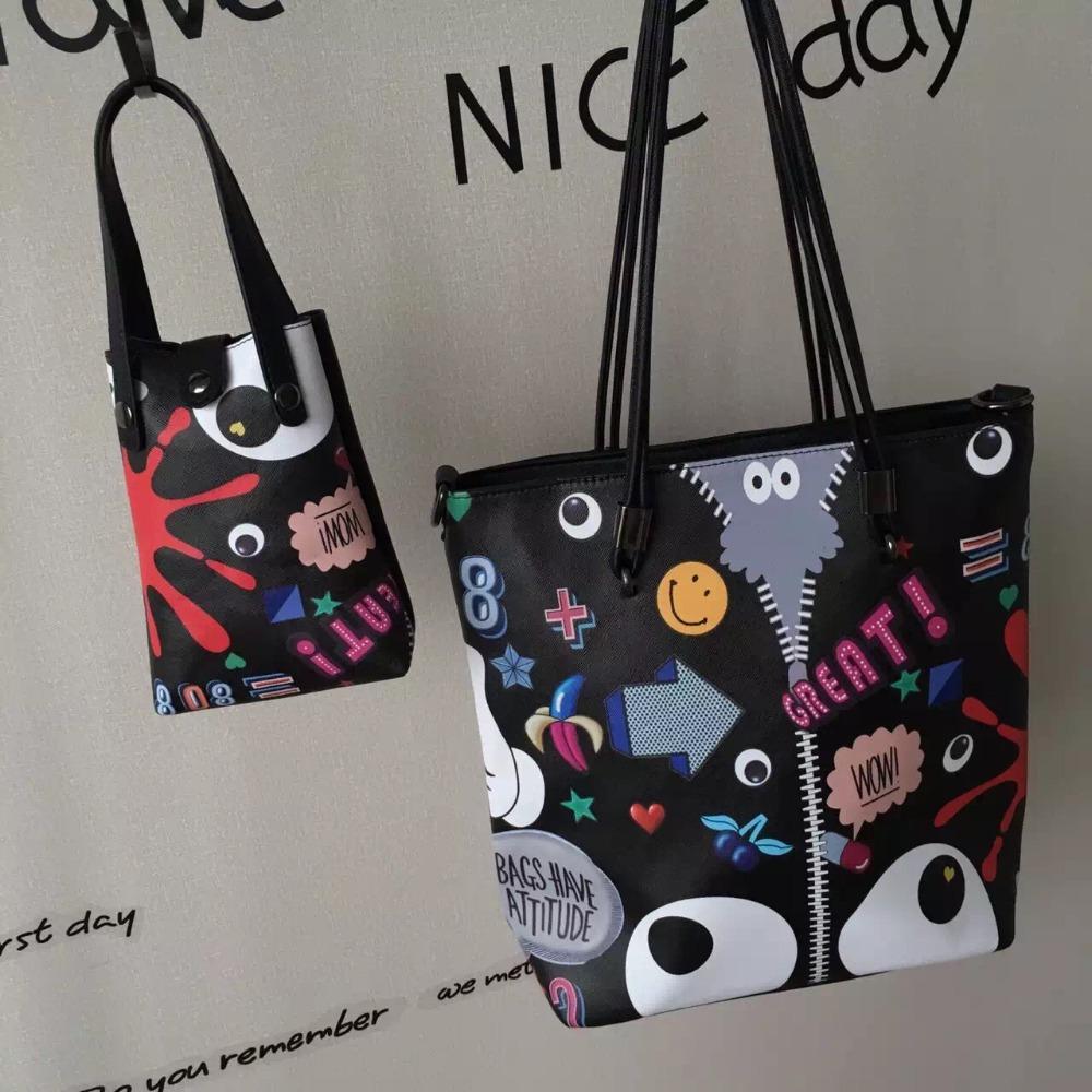 2016 brand classic Composite Tote bags fashion Graffiti high Quality PU shoulder bag handbag Sac A Main Femme De Marque<br><br>Aliexpress