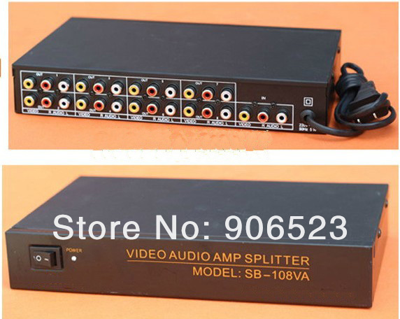 Metal shell 108VA 1 in 8 out Audio Video Amplifier Splitter Distributor box(China (Mainland))