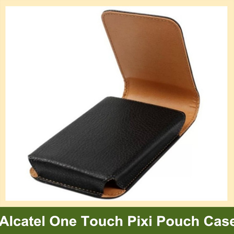 Belt Clip PU Leather Vertical Flip Cover Pouch Case for Alcatel One Touch Pixi 3/3.5