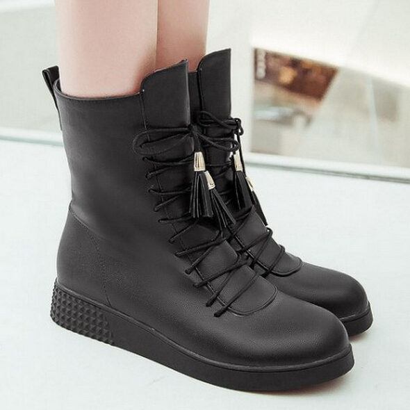 Faux pu leather inside heels platform ankle booties women new winter fashion cross lacing boots new toe(China (Mainland))