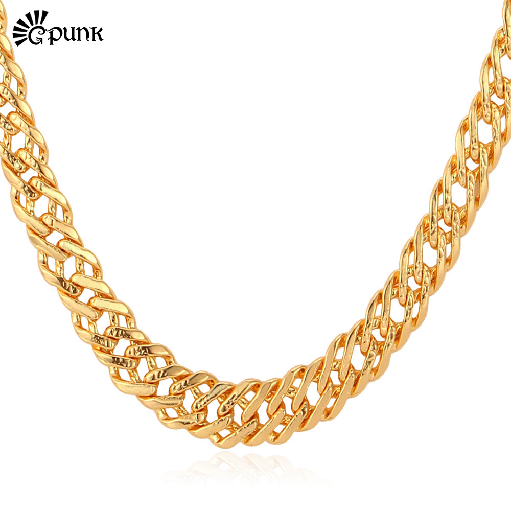 """Men Link Chain Necklace Gold Men Jewelry Wholesale With """"18K"""" Stamp Gold /Platinum/Rose Gold Plated 6 MM 3 Sizes Wholesale N212(China (Mainland))"""
