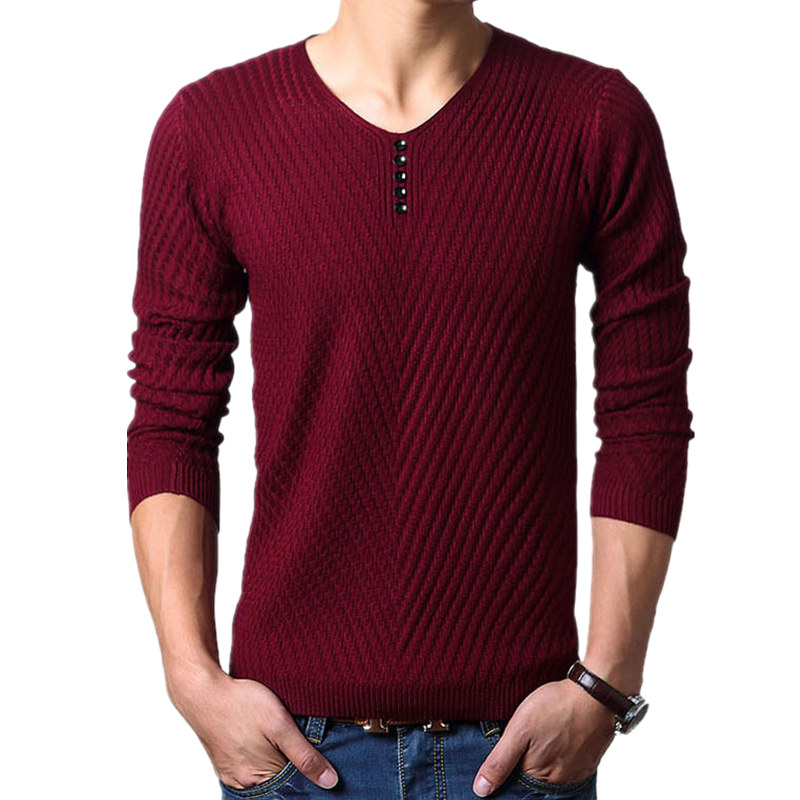 2016 New Winter Henley Neck Sweater Men Cashmere Pullover Christmas Sweater Mens Knitted Sweaters Pull Homme Jersey Hombre(China (Mainland))
