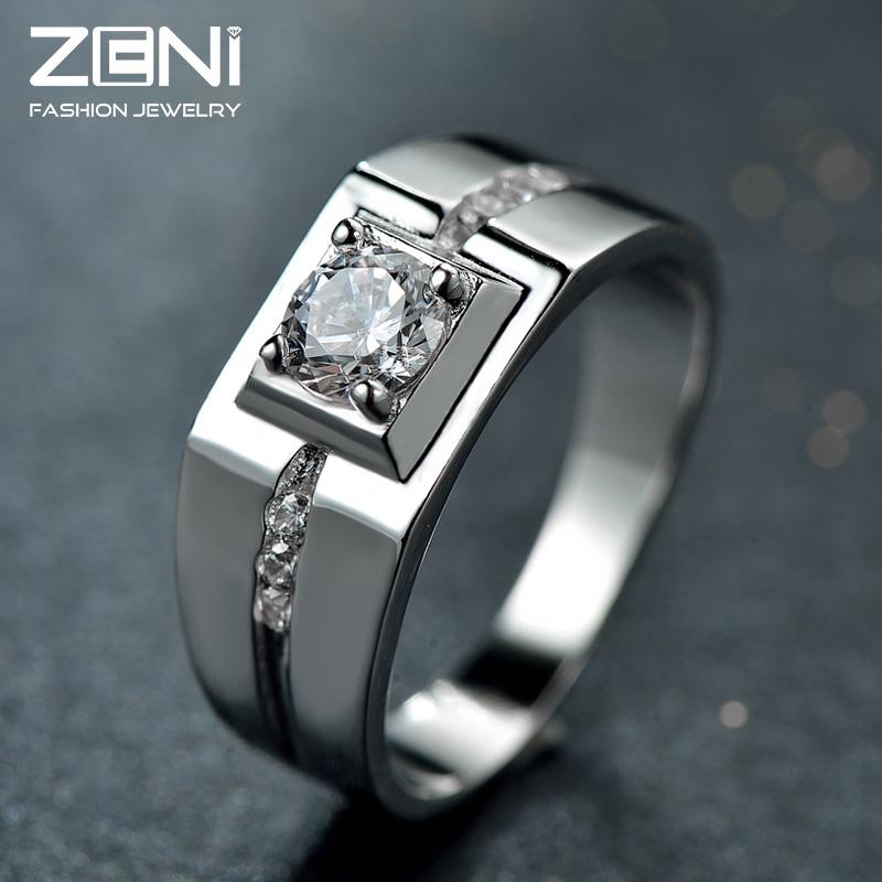 2016 Fine Jewelry Genuine Cubic Zirconia Natrual Crystal Fashion Design 925 Sterling Silver Rings for Men Zeni Jewelry<br><br>Aliexpress