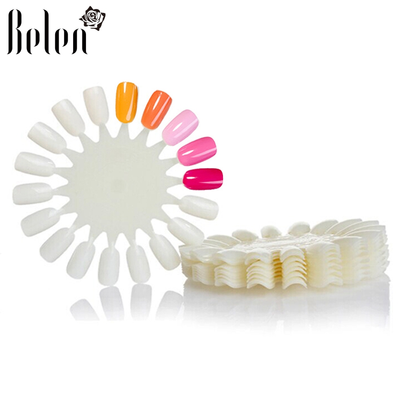 Belen 10PCS Natural White Wheel Polish Color Display Chart Round 180 False Nail Tips False Tips Nail Art Design Acrylic Polish(China (Mainland))