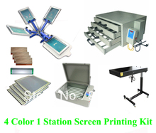 Free shipping discount full 4 color 1 station t-shirt screen printing kit press printer machine flash dryer expsoure stretcher