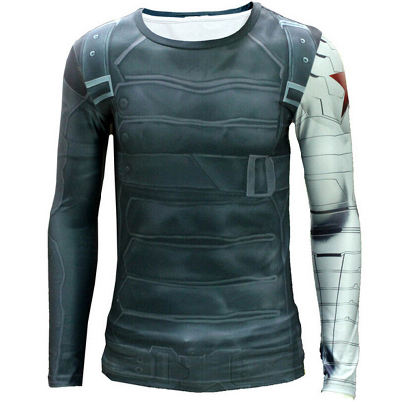 3D Winter Soldier Avengers Compression Shirt Men Summer Long Sleeve Fitness Running Marvel T Shirt Male Gym Clothing Tight Tops(China (Mainland))