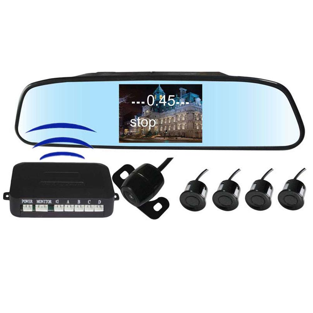 Wireless rear view camera parking sensor backup radar alert alarm 4.3inch mirror display 4 sensors 2 in 1(China (Mainland))