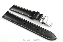 19mm (Buckle18mm) PRC200 T014410 T461 T41 High Quality Silver Butterfly Buckle + Black Genuine Leather Watch Bands Strap