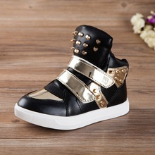 2016 New spring children shoes Metal rivets boys and girls high-top shoes fashion casual shoes mixed colors