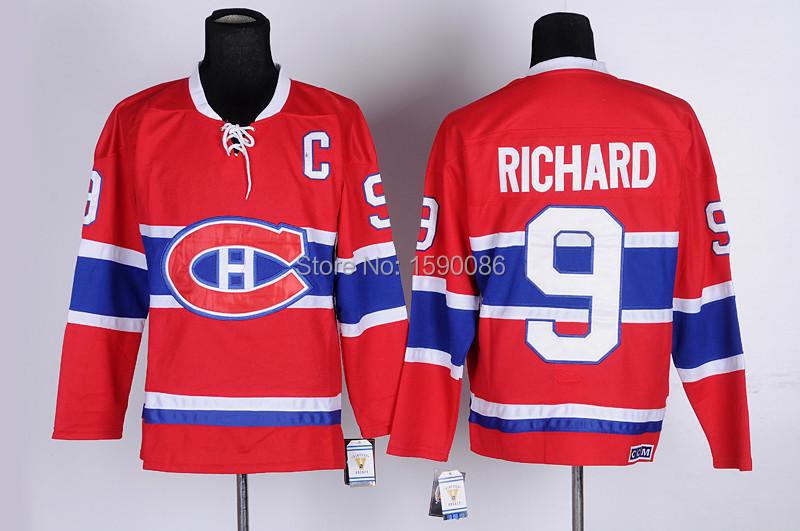 Authentic Cheap Montreal Canadiens Jerseys Maurice Richard Jersey #9 red White Wholesale Ice Hockey Jerseys China(China (Mainland))