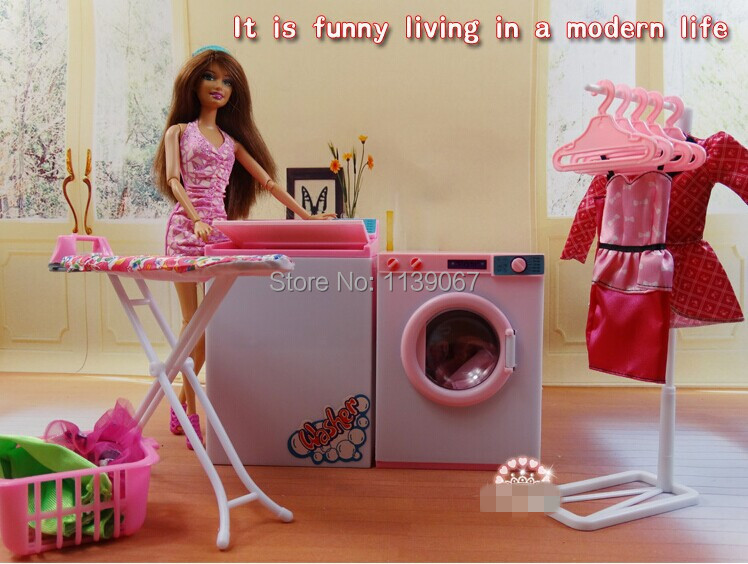 White and pink dollhouse laundry center sets washing for Furniture 7 days to die