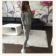 Buy Femme Long Sleeve Pullover Tops Runway Sporting Suit Sexy Slash Neck Tracksuit Sportswear Casual Sets Two Piece Outfit Women for $15.37 in AliExpress store
