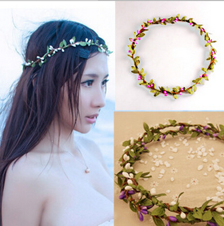 QUANKA New Hair Bridal Wedding Wreath Flower headbands girl Garland Bride Accessory Artificial Flower Wreath / studio props(China (Mainland))