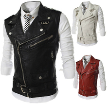 New Men PU Leather Vest Fashion Sleeveless Faux Leather Jacket Pure Color Slim Fit Outwear Autumn And Winter Zipper Vest Y1334(China (Mainland))