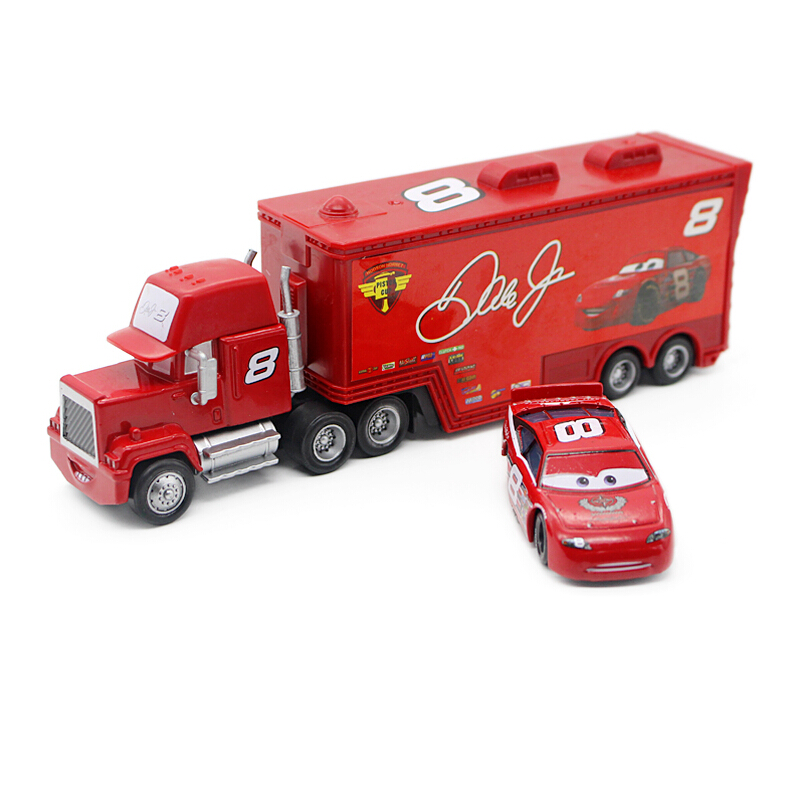 2Pcs New Pixar Cars 2 No. 8 Dale Earnhardt Jr Truck Hauler Toys Diecast Metal Mack Cars Classic Toys(China (Mainland))