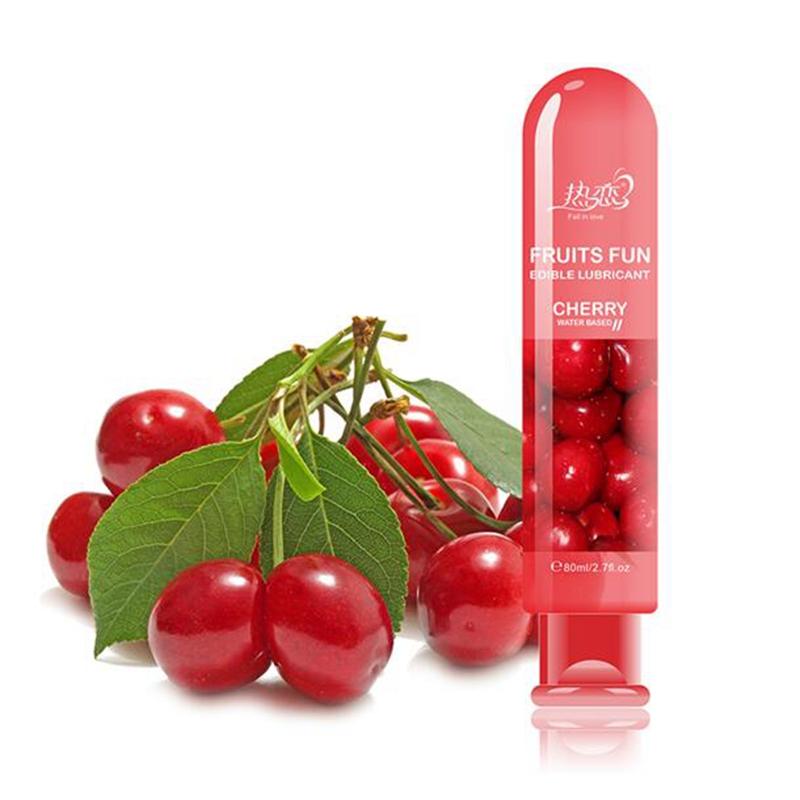 80ml Cherry fragrance fruit flavor Lubricant Gel Lube Edible Oral enhance aphrodisiacm for men female Massage seminal fluid(China (Mainland))