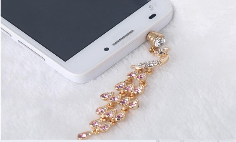 Hot sale Luxury Peacock Swarovski full diamond crystal plugs headphone dust plug earphone jack for cell phone 3.5 mm universal(China (Mainland))