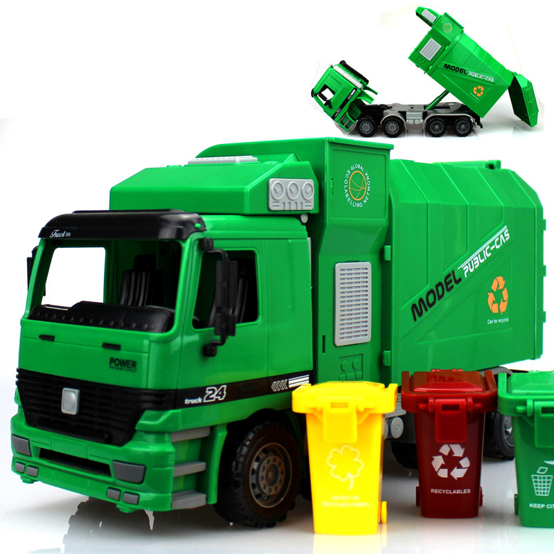 Big Size New Jumbo Children's Large Man Side Loading Garbage Truck Can Be Lifted With 3 Rubbish Bin Toy Car Wholesale(China (Mainland))