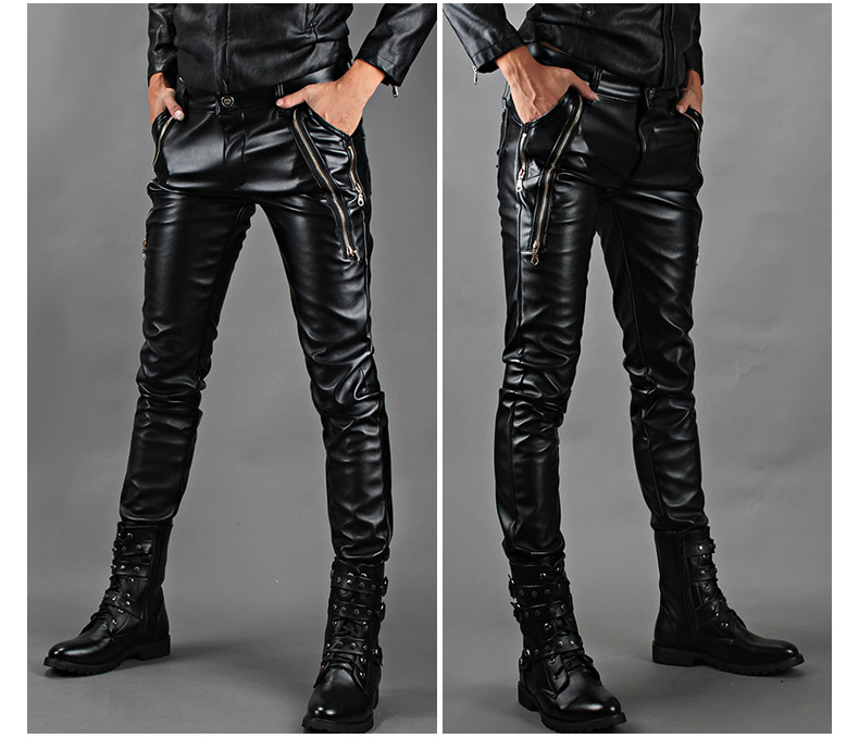 Autumn and winter leather pants tidal current male slim motorcycle tight-fitting plus velvet thickening thermal PU trousersОдежда и ак�е��уары<br><br><br>Aliexpress