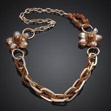 2015 Brand Designer Gold Chain Choker Vintage Rhinestone Necklace Bib Flower Statement Necklaces & Pendants Women Jewelry N0300(China (Mainland))