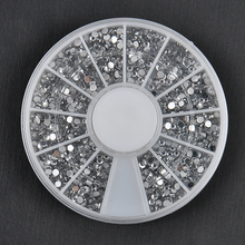 Bulk 2400pcs 1.5mm Sliver 3d Nail Art Studs Plastic Glitter Charms DIY Decoration Stamping Wheel