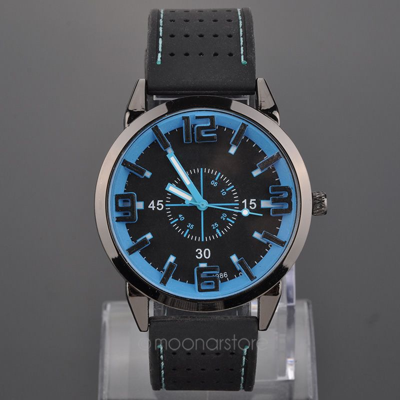Excellent Fashion mens Retro Design Rubber Band Analog Alloy Quartz Wrist Watch Thinner New LS MPJ579