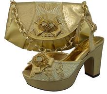 # Gf28 vente chaude couleur d'or italien style PU cuir à talons hauts chaussures et le sac ensemble avec brillant de pierres parti chaussures et le sac(China (Mainland))
