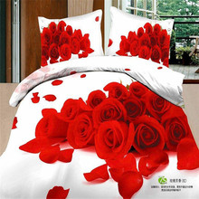 Freeshipping Qualified Bedding Set King Size 3D Duvet Covers Jogo de Cama Red Rose in White Quilts 100% Cotton Reactive Printing(China (Mainland))