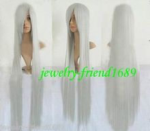 Wholesale& heat resistant LY free shipping>>>New wig Heat Resistant COSPLAY LONG STRAIGHT SILVER WHITE WIG