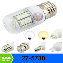 E27 E26  E14 E12 G9 GU10 B22 6W  27-5730 SMD Warm White Lights AC DC 12V 24V Super Bridght Waterproof Corn Style Bulb Lamp(China (Mainland))