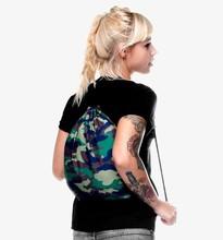 2015 Fashion Escolar Backpack 3D Printing Travel Softback Men Women Army Green Mochila Feminina Harajuku Drawstring