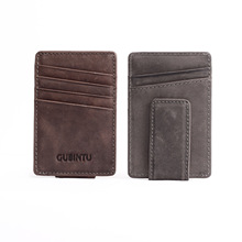 2016 Men Women 100% Scrub Genuine Leather Magnetic Money Clip Wallet Holder Clamp for Money Men's Wallets Bill Clip ML1-040(China (Mainland))